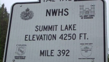 Summit Lake marker, the highest point on the Alaska Highway and the lowest point in WC's Fall 1970 trip south