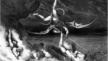 Corrupt Politician Being Thrown in the Lake of Burning Pitch, Dante's 8th Circle of Hell, 5th Bolgia