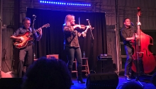 Hot Club of Cowtown: Whit Smith, Elana James and Jake Erwin, rocking the Cinder Winery in Boise (Mrs. WC photo)