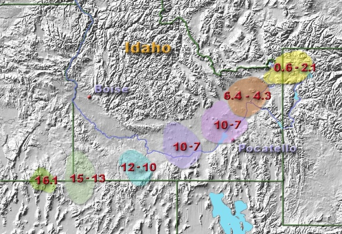 Current estimates of the track of the Yellowstone Hotspot, numbers are millions of years ago