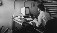 Lawrence Tesler using an Alto personal computer sometime during his tenure at Xerox in the 1970s. As a young researcher at Xerox, he helped to develop today's style of computer interactionCredit...Xerox PARC