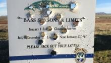 Shot Up Sign, Indian Creek Reservoir, Idaho
