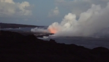 Kilauea lava flow entering the ocean, January 2003