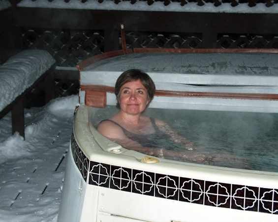 Laurie in Fairbanks, enjoying a winter hot tub, December 2001