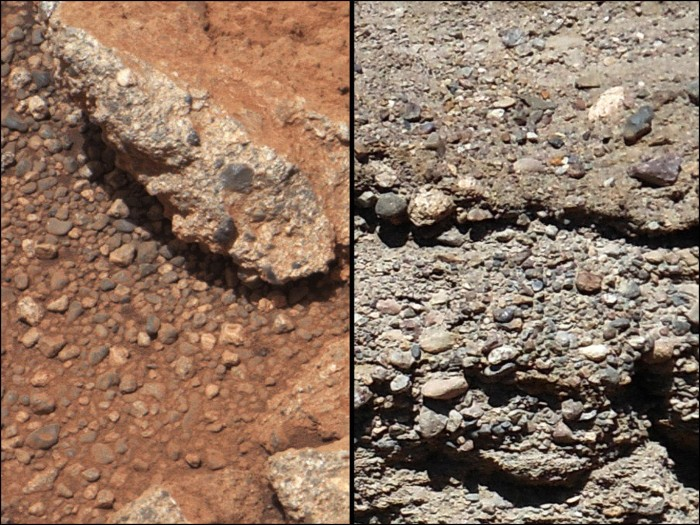 Conglomerate on Mars, photographed by Curiosity. Photo: NASA/JPL-Caltech/MSSS and PSI