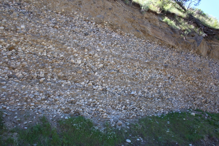 Buried and then partially exposed gravel bar, Salmon River Canyon, Idaho