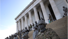 On June 2, members of the D.C. National Guard stand on the steps of the Lincoln Memorial during ongoing protests against police brutality and the death of George Floyd. (Win Mcnamee/Getty Images)