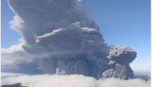 View of Okmok's ash plume emitting from multiple vents near intracaldera Cone D, taken at about 1:30 pm on August 3, 2008 by Jessica Larsen, Alaska Volcano Observatory, Geophysical Institute