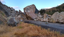 Rockslide blocking U.S. 95 at Pollock, Idaho (Credit: Idaho Transportation Department)